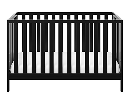 Storkcraft Pacific Convertible Crib, Black Easily Converts to Toddler Bed, Day Bed or Full Bed, 3 Position Adjustable Height Mattress ()
