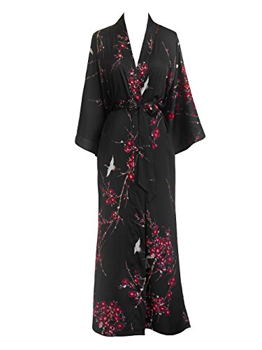Old Shanghai Women's Kimono Robe Long - Watercolor Floral, Cherry Blossom & Crane- Black