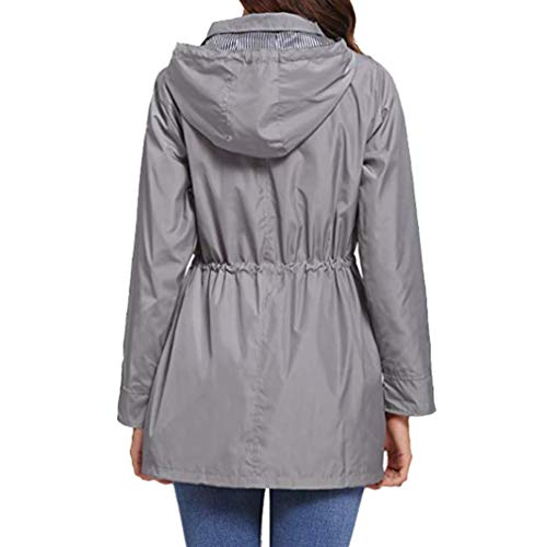 Grigio Impermeabile Coulisse Mxssi Giacca Coat Cappotti Trench Vento Hooded A Patchwork Donna Antivento Casual 0qpOB