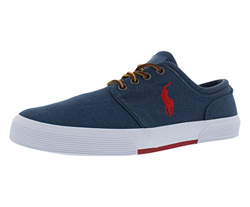 Polo Ralph Lauren Men's Faxon Low Ripstop Sneaker,Navy/Red,12 D US - Polo Sport Shoes