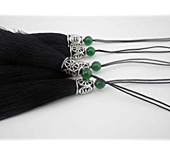 Black Konmay 10pcs 3.8 Soft Long Craft Silky Handmade Tassel with Hollowed Antique Silver Cap and Jade Beads 9.0cm