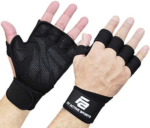 New Ventilated Weight Lifting Gloves with Built-In Wrist Wraps, Full Palm Protection & Extra Grip. Great for Pull Ups, Cross Training, Fitness, WODs & Weightlifting. Suits Men & Women