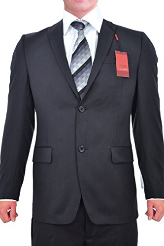 Discount Alfani Red Slim Fit Black Ministriped Wool Two Button New Men's Suit hot sale