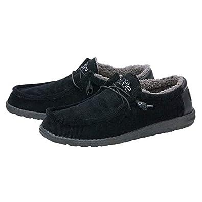 Hey Dude Shoes Hommes Wally Velours C/ôtel/é Fausse Fourrure Doubl/ée De Carbone