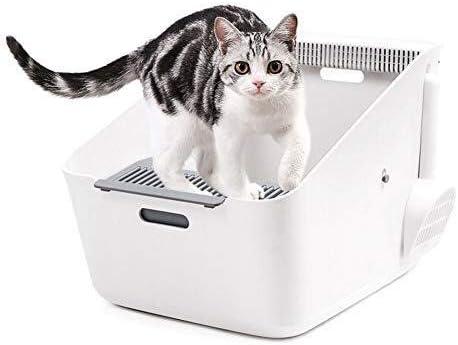 QWER Cajas de Arena para Gatos Aseo Mascota, Gato Caja de Arena, de Entrada Superior, Borde Alto Caras, desodorización, de Gran Capacidad Arenero para Gatos: Amazon.es: Hogar