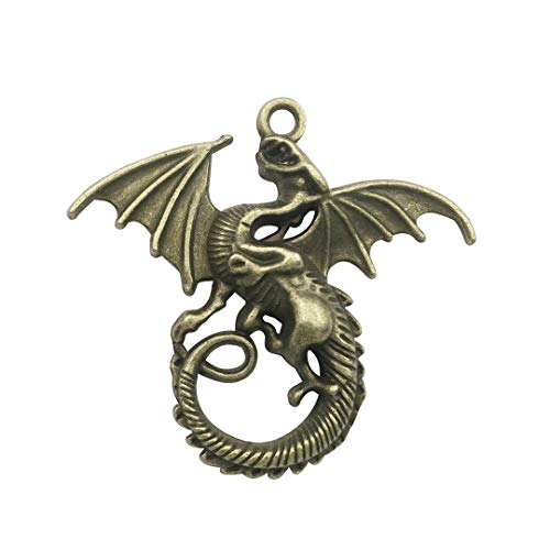 Youdiyla 10 PCS Dragon Pendants, Antique Bronze, Fly Fire Dragon with Wings Metal Charms for Jewelry Making DIY Findings (C6329)