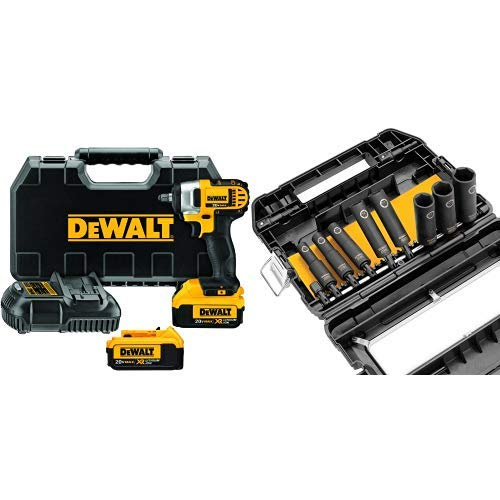 DEWALT DCF883M2 20-volt MAX Lithium Ion 3 8-Inch Impact Wrench Kit with Hog Ring with DEWALT DW22838 3 8-Inch 10-Piece IMPACT READY Socket Set
