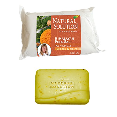 WBM Natural Solution 8321 Himalayan Pink Salt Face and Body Bar, 100% Natural Vegetable Base-Turmeric and Neem (5.2 OZ/ 150 g), Best Skin Cleanser & Protector Body Soap