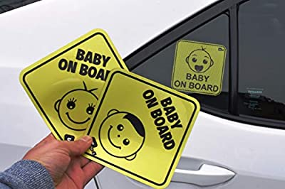 3 Baby On Board Safety Sign for car with 1 Sticky and 2 Magnate Decal. All are Different Cute Design. Reflected, Heat Resistant, for All Weather (Winter, Summer, Rain)