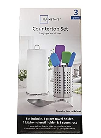 Mainstays 3-Piece Stainless Steel Countertop Set, Includes Paper Towel Holder, Utensil Holder