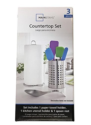 Amazon.com - Mainstays 3-Piece Stainless Steel Countertop Set, Includes Paper Towel Holder, Utensil Holder, and Spoon Rest by Mainstay -