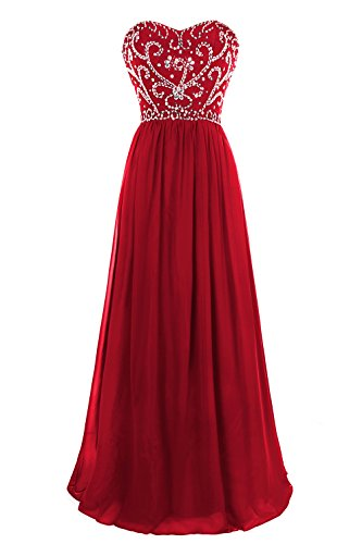 MsJune Prom Dresses Sweetheart Beaded A Line Lace Up Back Floor Length Evening ()