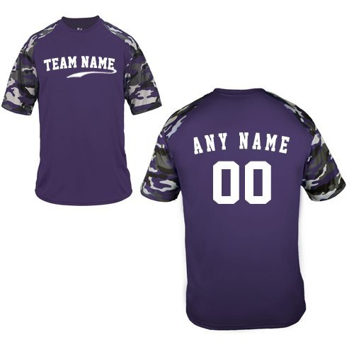 Badger Baseball Jersey - Custom (Any Team Name Front and/or Name/# on Back) Purple Camo Adult 2X Sleeve Wicking Jersey Uniform Shirt