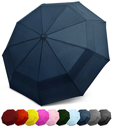 EEZ-Y Compact Travel Umbrella w/Windproof Double Canopy Construction - Auto Open Close (Blue)