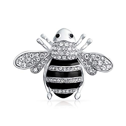 Bling Jewelry Black Crystal Large Fashion Statement Queen Bumble Bee Brooch Pin for Women for Mother Silver Plated Brass ()