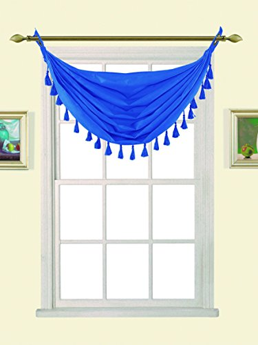 """GorgeousHome (M12) ROYAL BLUE 1pc Solid Elegant Faux Silk Swag Waterfall Antique Grommets Dressing Small Window Valance, w/ Fringes Tassel 50"""" X 37"""" Inch"""