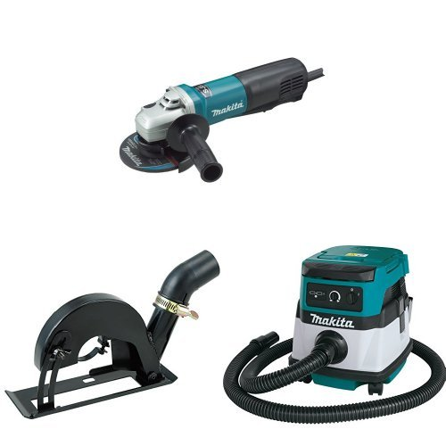 Makita 9565PCV 5-Inch SJS High-Power Paddle Switch Angle Grinder, 193794-5 Dust Extraction Cutting Guard, XCV04Z 18V X2 LXT (36V) 2.1 Gallon HEPA Filter Dry Dust Extractor/Vacuum