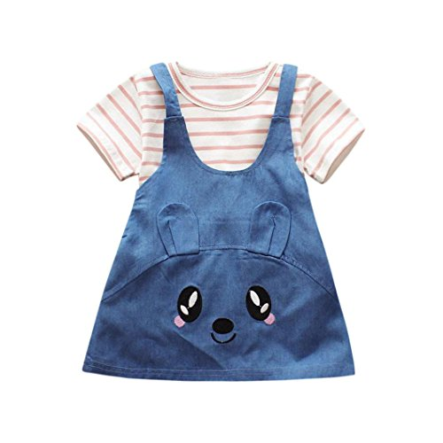 Kleidung Set Mädchen BeautyTop Baby Mädchen Sommer Kleidung Set Kleidung Baby Mädchen kleiderset 2Pcs/Set Baby Streifen Kurzarm T-Shirt Bluse +Süße Katze Jeans-Kleid Outfit #2