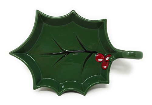 Temp-tations Holly Leaf Appetizer Plate Or Condiment Tray - Larger Size or Personal Size (Larger)
