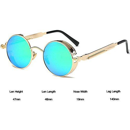 soleil Glace de personnelles rétro UV400 lunettes Or Lunettes Huateng polarisées rondes steampunk Bleue lunettes ZEq77a