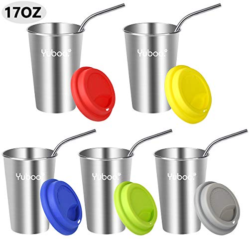 (Stainless Steel Cups with Straws and Lids,yuboo 5 Packs 17 oz Drinking Tumblers with Brush for Milk,Juice and,Beer)