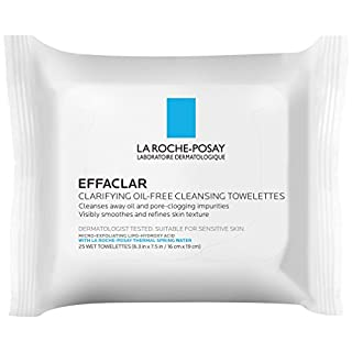 La Roche-Posay Effaclar Oil-Free Cleansing Face Wipes Towelettes, 25 Count