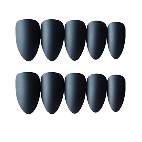 (MISUD Colorful Press on Almond Fake Nails Solid Colors Full Cover Medium Matte Sharp Beauty Gel Artificial False Nails Art Tips Sets (Black))