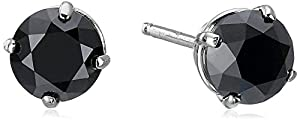 1 CT Black Diamond Stud Earrings 14k White Gold