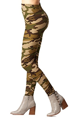 Conceited Super Soft High Waisted Printed Leggings for Women - Camouflage Olive - Small/Medium (0-12)