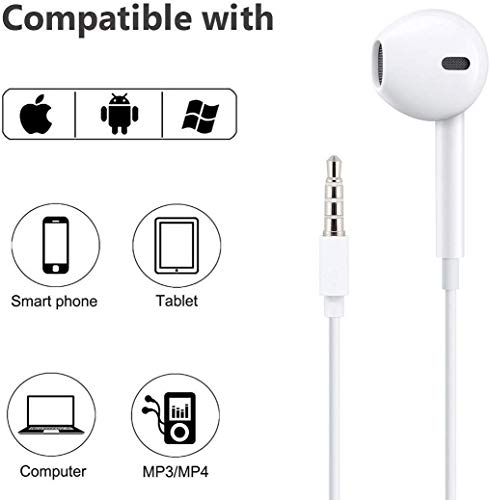 3.5mm Headphones/Earphones with Microphone Noise Isolating for iPhone, in-Ear Wired Earbuds,with iPhone 6s/ 6 Plus/ 5s/ 5c/ 5/ 4s/ SE iPad/iPod 7/Samsung Compatible All 3.5mm Devices(White)