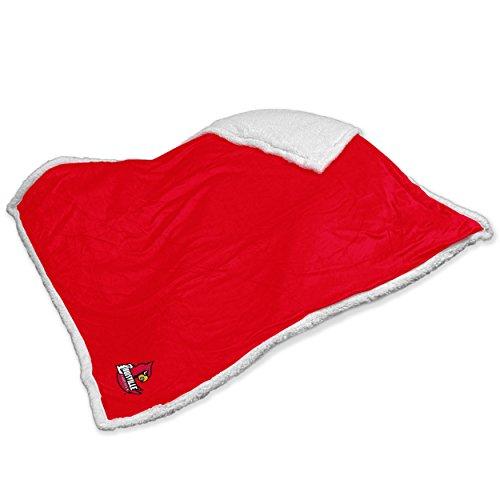 Logo Brands NCAA Louisville Sherpa Throw Blanket