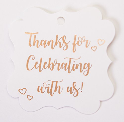 Thanks for Celebrating with us, Rose Gold Foil, 30 Pack,Thank You Tags, Gift Tags, Print Party Hearts Collection (Rose Gold Tags Frame (Ribbon Small Poster)