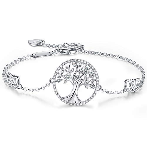 (ANGELFLY Family Tree of Life Womens Silver Love Bracelet,S925 Sterling Silver Adjustable Sister Friendship Bangle Bracelets for Women Girlfriend,Gifts for Mothers Day and Birthday (E-Life Bracelet))