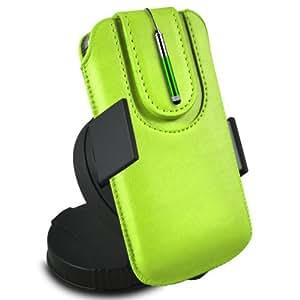 N4U Online - Sony Xperia Miro protección PU deslizamiento del lazo magnético en una bolsa con la caja de liberación rápida, 360 Rotating del parabrisas del coche cuna y mini capacitiva retráctil Stylus Pen - Verde