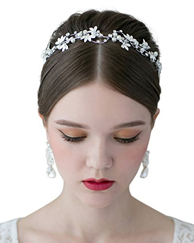 SWEETV Bridal Pearl Headband Leaf Crystal Tiara Band Wedding Hair Jewelry Costume Accessories for Women