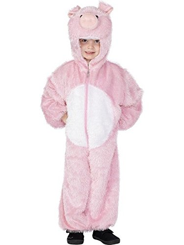 Smiffys Children's Unisex All In One Pig Costume, Jumpsuit with Hood, Party Animals, Ages 7-9, Color: Pink, 30784 ()