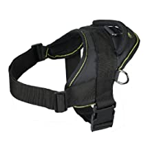 Dean & Tyler Dog Harness, Medium, Fits Girth Size: 28-Inch to 34-Inch, Black with Yellow Trim