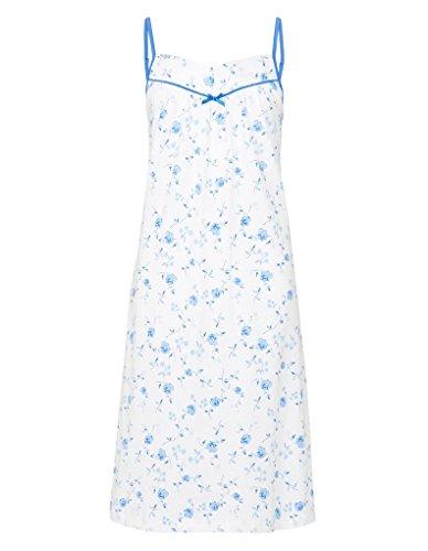 Slenderella ND7135 Women's Blue Floral Cotton Night Gown Loungewear Nightdress