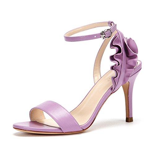Sandaler Høje Ensfarvet Blad Koyi Prinsesse Mode Ny Kvindelige Lilla Lotus Sko Hæle Sommer Bryllup UT46qnw45x