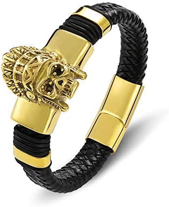 チャームマグネティックゴールド本物の男性の革のブレスレットスカル男性ロープアクセサリージュエリー織り精神バングル21.5センチ
