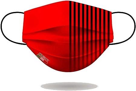 Mascherina ac milan - per viso con elastici, lavabile e sterilizzabile, unisex, made in italy (rosso nero) B089XFP8TZ