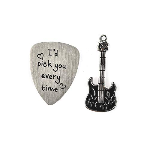 Stainless Steel Guitar Picks with Guitar Charms-I'd Pick You Every Time Birthday Gifts for Guitar Lovers #12 (Guitar Chords For Lead Me By Sanctus Real)
