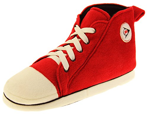 (Mens Dunlop Warm Fleece Novelty Sports Sneaker High Top Boot Slippers Red 9-10 D(M) US)