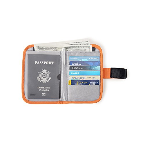 Passport Wallet Organizer Travel Cover Holder(Orange)