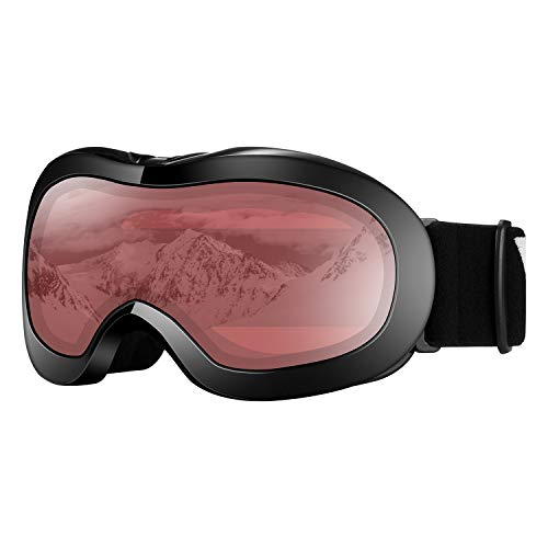 VELAZZIO Kids Ski Goggles, Snowboard Goggles OTG Snow Goggles Anti-Fog Double-Layer Lenses, 100% UV Protection (Black Frame/Red Lens with Light Silver Coating (VLT 21%))