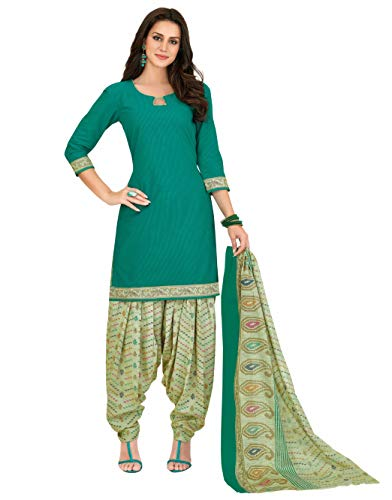 Miraan Women Cotton Unstitched Dress Material (SGPRI736, Green, Free Size)