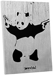 Pingo World 0622Q9VC3ZS Panda Gallery Wrapped Canvas Art. Bonus Free Banksy Wall Decal 45″ x 30″