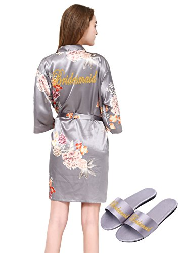 PROGULOVER Women's Satin Floral Kimono Robe for Bride Bridesmaid with Gold Glitter Wedding Party Spa Robe with Pocket and Free Slippers