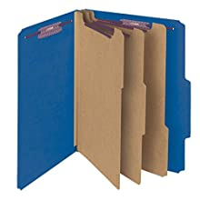 "Smead Pressboard Classification File Folder with SafeSHIELD Fasteners, 3 Dividers, 3"" Expansion, Letter Size, Dark Blue, 10 per Box (14096)"