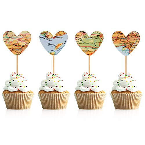 Donoter 36 Pcs Map Heart Cupcake Topper Picks for Adventure Themed Wedding Bridal Shower Graduation Party Decorations]()